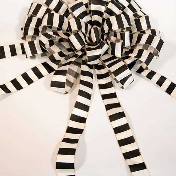 Black & White Striped Bow