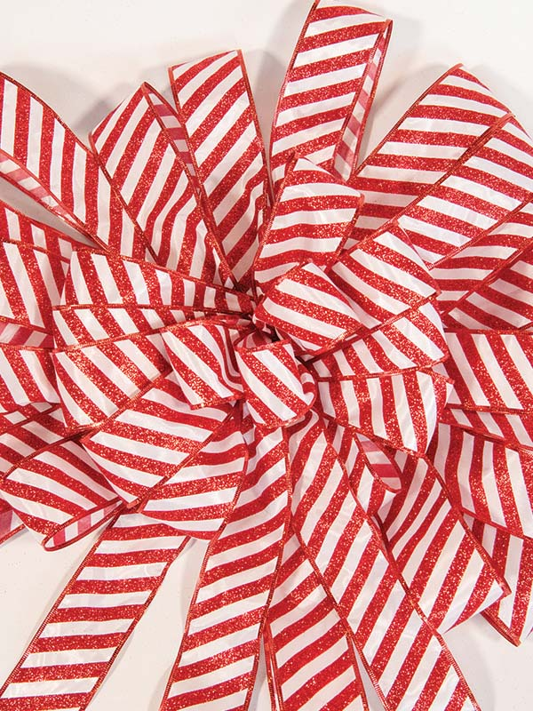 candy cane large stripe bow