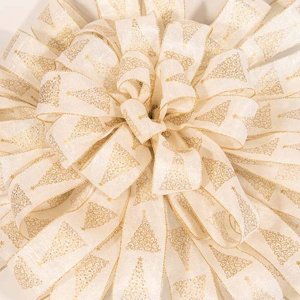 Cream Bling Tree Bow