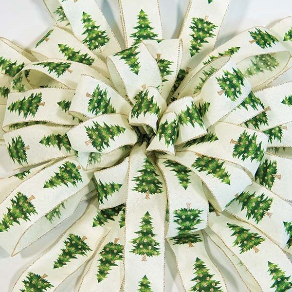 cream green tree bow
