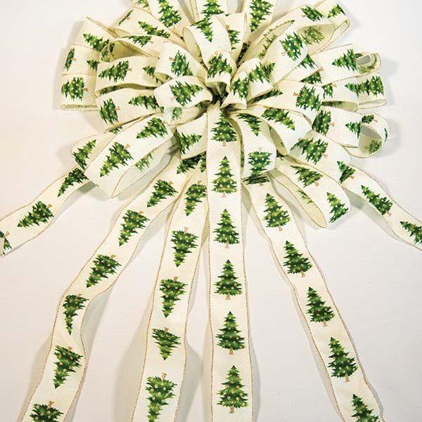 cream green tree bow