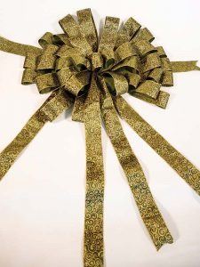 Green Gold Swirl Bow