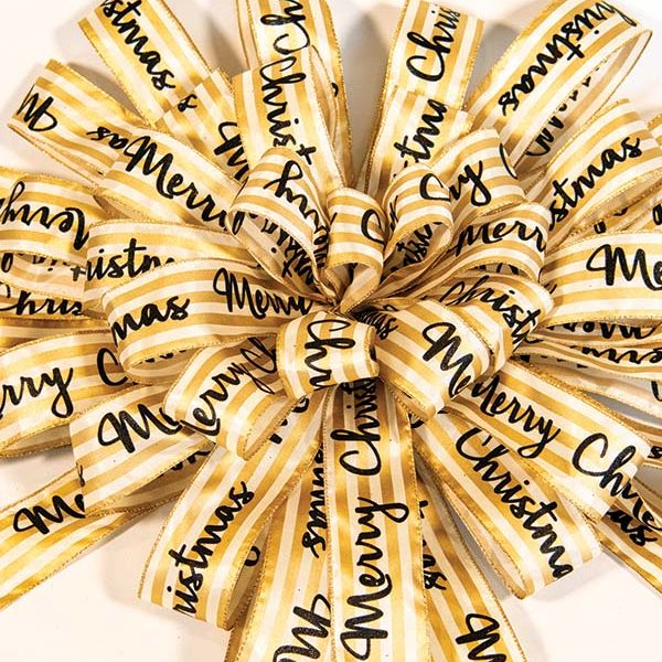 Merry Christmas Cream & Gold Striped Bow