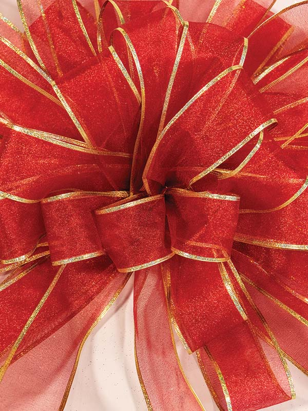 Sheer Red with Gold Trim Bow