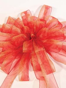 Frosted Red with Gold Bow