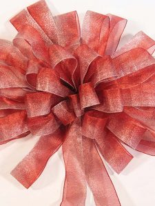Frosted Red with Silver Bow